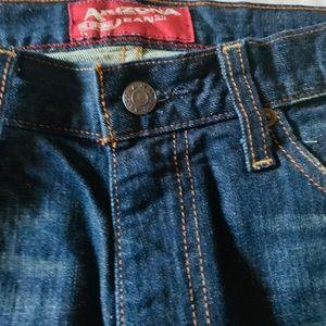 Dark wash blue straight leg men jeans